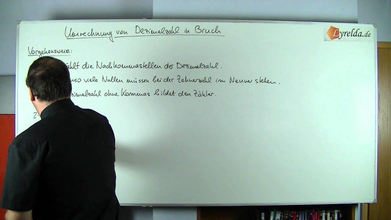 dezimalzahl in bruch umwandeln - lyrelda.de - youtube