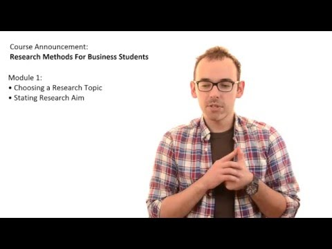 Research Methods For Business Students | Course Announcement
