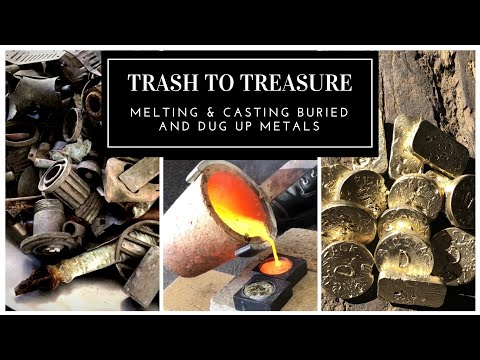 TRASH TO TREASURE - MELTING & CASTING BRASS BARS & COINS FROM BURIED METALS