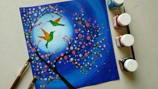 easy painting drawing beginners hummingbird night moonlight