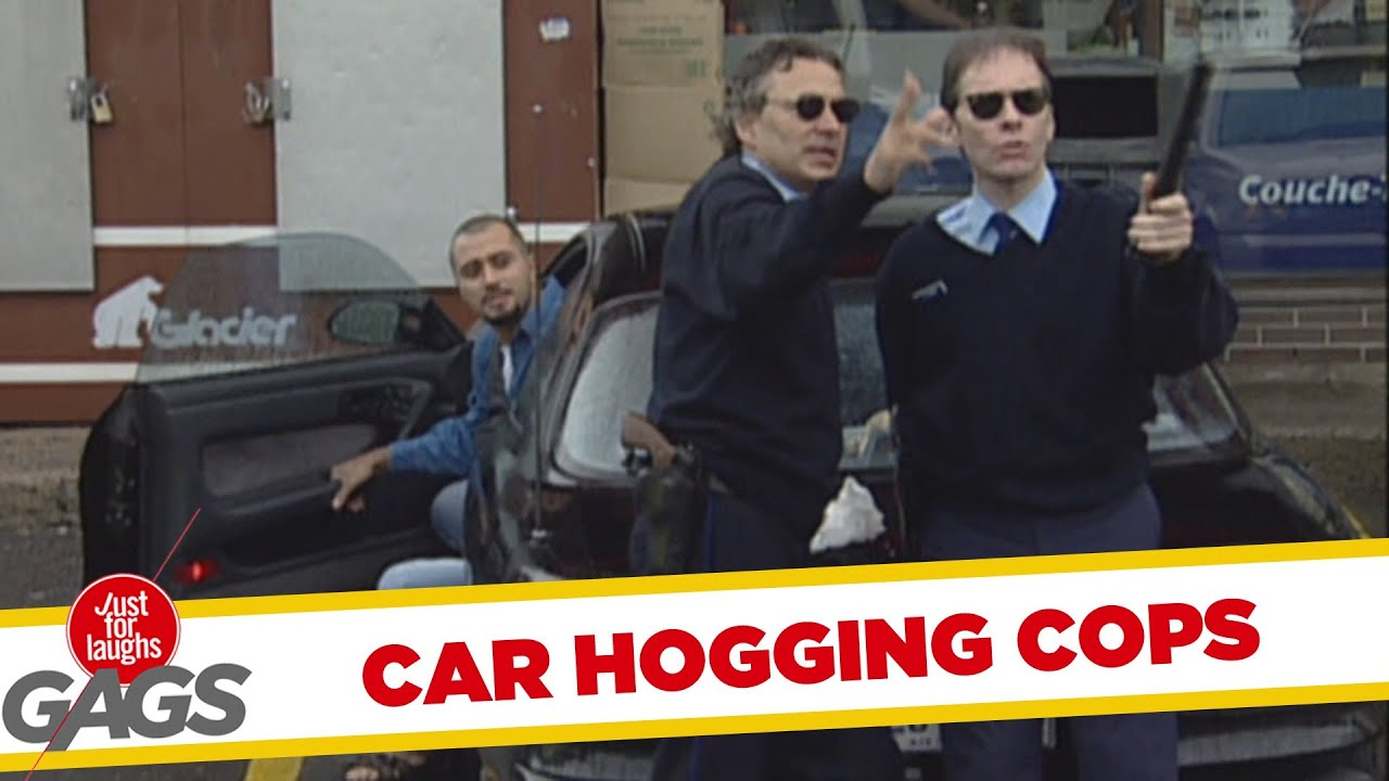 Car hogging police officers prank