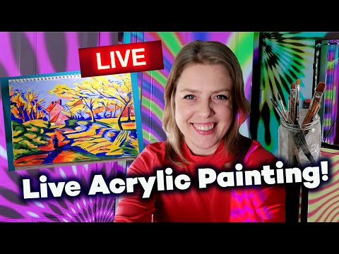 Beginners Acrylic Painting – Autumn Fall Landscape Art – Magical Forest – Livestream #26