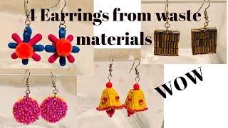 4 Unique Earrings from waste materials  Handmade Earrings   CrazeeCrafts