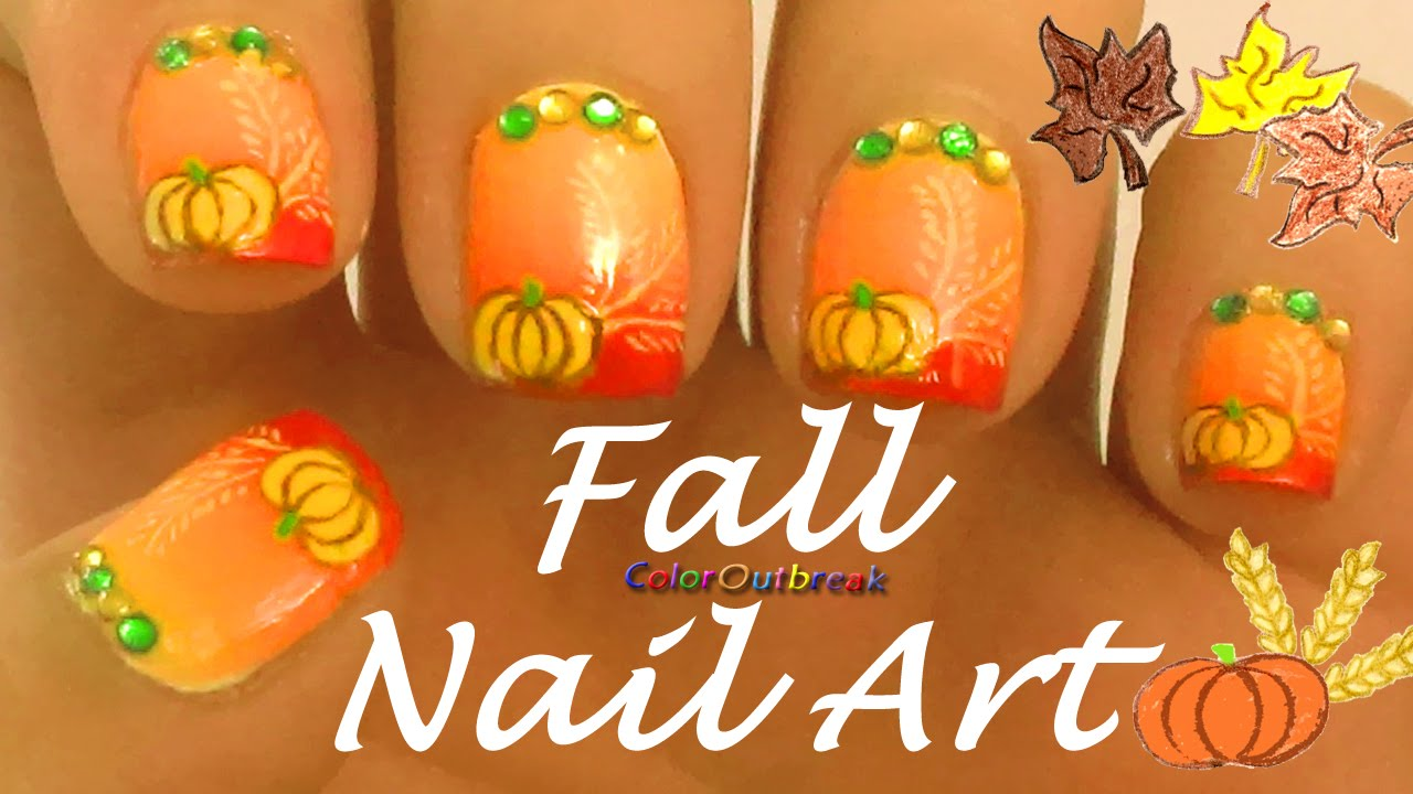 ღfall Thanksgiving Nail Art Designs Grant Nails Pumpkin Wheat Rhinestones Bpsღ You