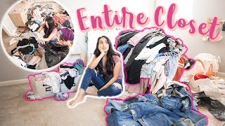 Putting *ALL* My Clothes In ONE GIANT PILE!! EXTREME DECLUTTER & CLEAN WITH ME MARIE KONDO STYLE
