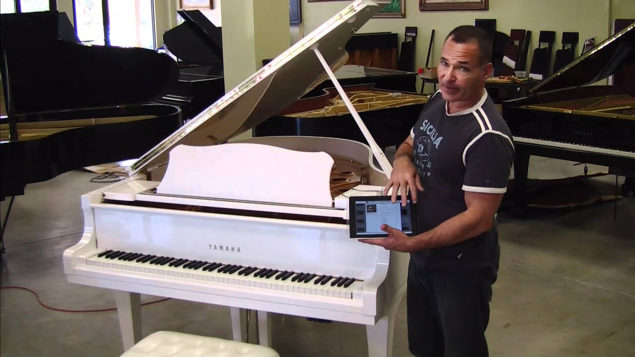 White yamaha c3 grand piano ipad 2 piano youtube for White yamaha piano