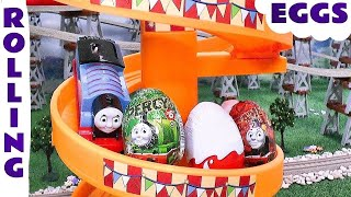 Repeat youtube video Thomas and Friends Toy Trains Rolling Surprise Eggs including Kinder Eggs opening surprise toys TT4u