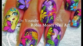 Nail Art Tutorial | Diy | Flower Garden Glitter Nails Design