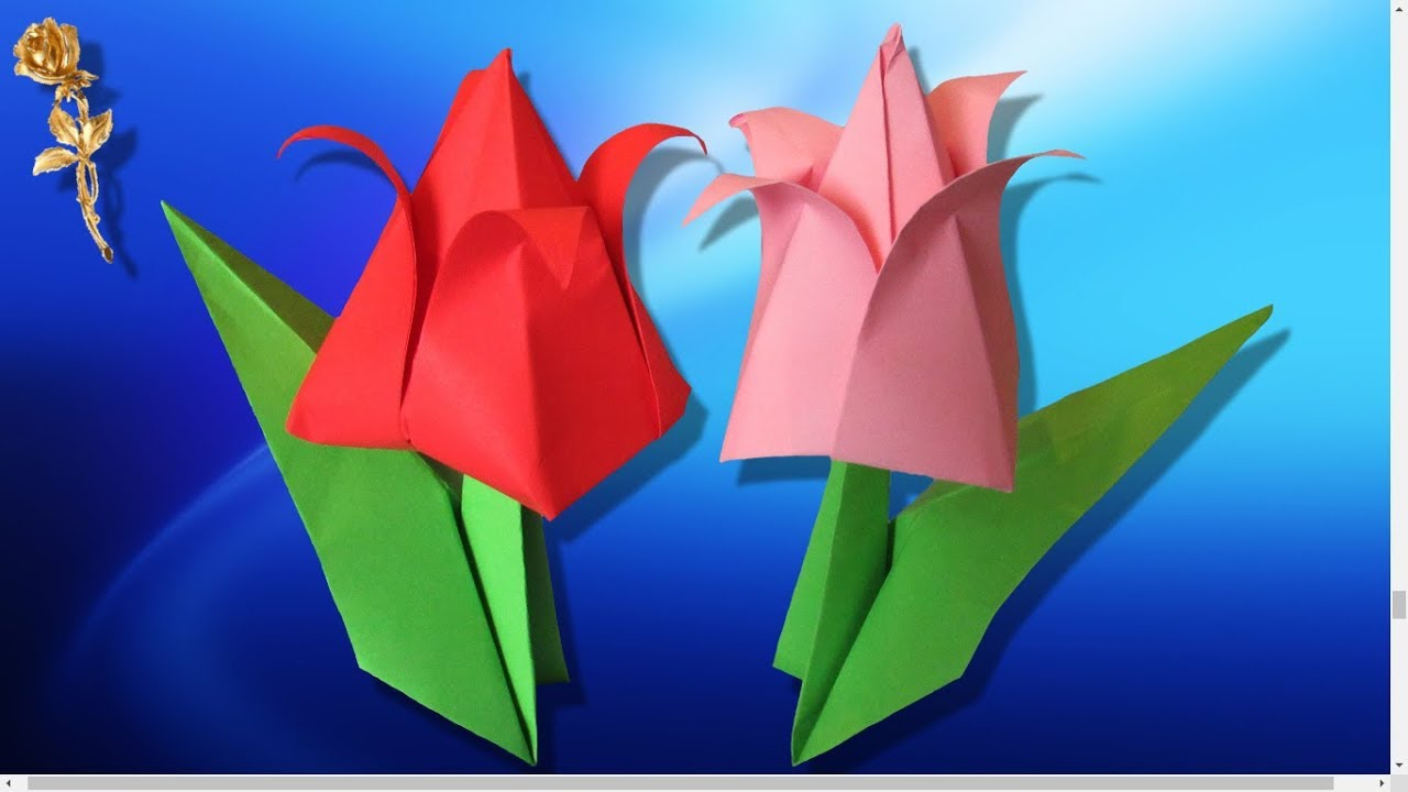 Origami tulipe youtube - Origami rose facile a faire ...