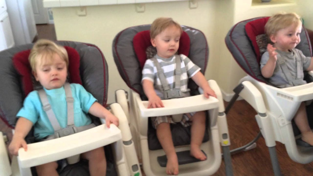Triplets High Chair Race With 17 Month Old Triplet Boys