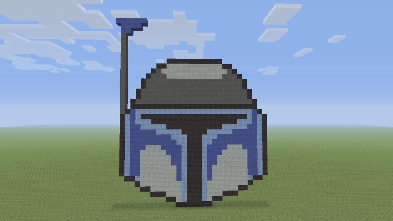 Minecraft Pixel Art Jango Fett Helmet From Star Wars Youtube