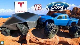 CYBERTRUCK vs FORD F150 REMATCH! TESLA CHEATED?!