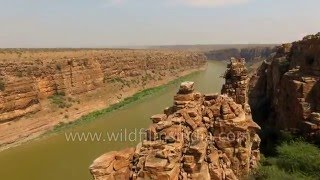 Flying over India-s Grand Canyon gorge and Gandikota Fort in Andhra Pradesh