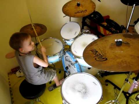 ACDC  Back in Black  Drum   5 Year Old Drummer