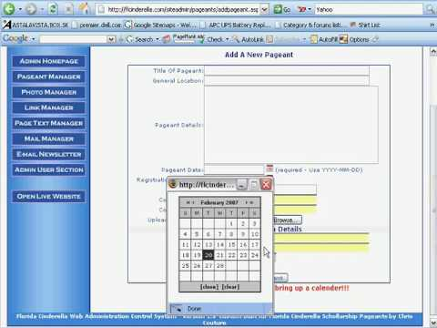 Florida Cinderella Pageant Manager Tutorial - Developed by Pensacola Web Designs