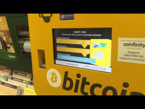 Buying Bitcoins Using Coinfinity's Bitcoin ATM At Vienna Main Station