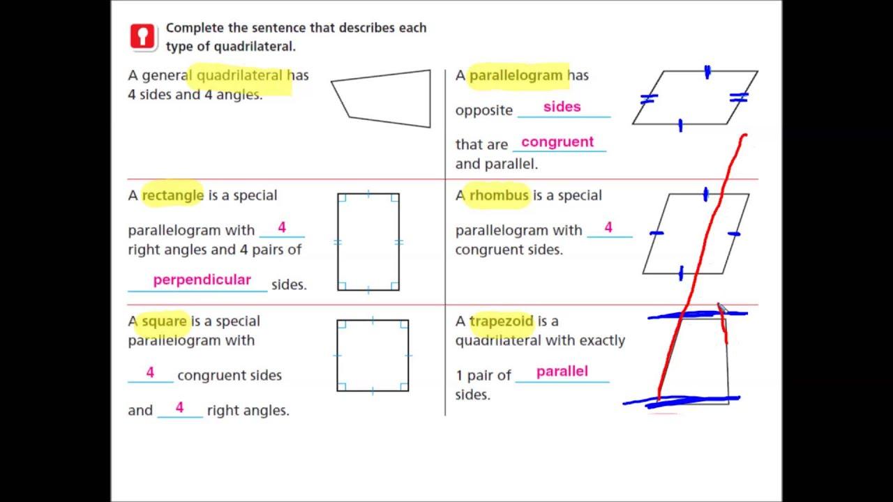 11.3 quadrilaterals homework and practice