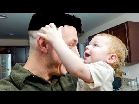 Toddler Reacts to Dad's Intense Military Hair Cut!