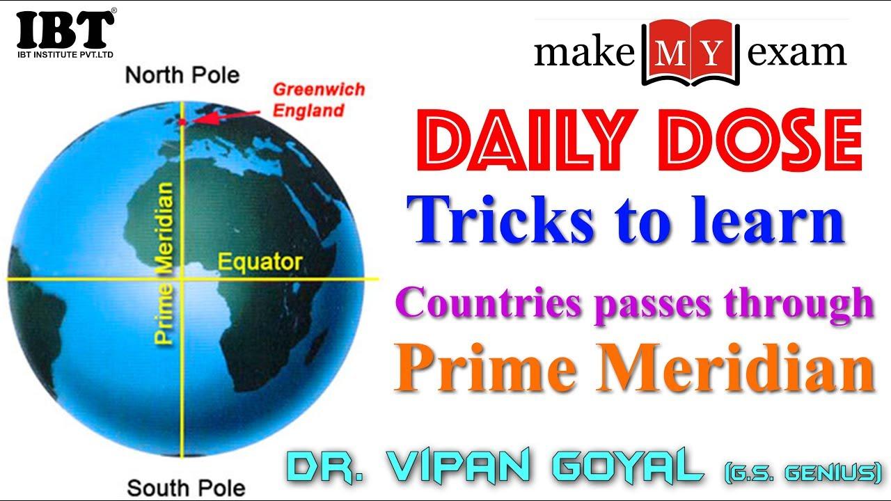 Tricks To Learn Countries Passes Through Prime Meridian | SSC/Bank PO || Dr  Vipan Goyal