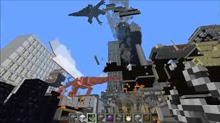 PopularMMOs MOBZILLA & TORNADO MOD VS NEW YORK CITY   Minecraft Mods Vs Maps Bosses, Deadly Weather