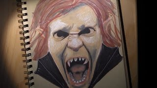 How to Draw a Dracula Selfie with Marker Pens (Narrated)