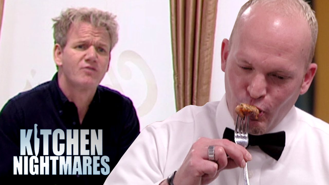 even the waiter has to spit the lobster out! - kitchen nightmares