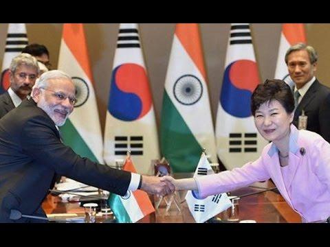 Narendra Modi and President of South Korea Park Geun hye at Delegation Level Talks in Seoul