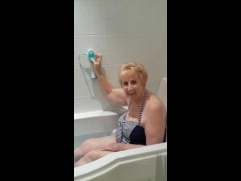Nanna Bea models a bath lift at 80 years young!