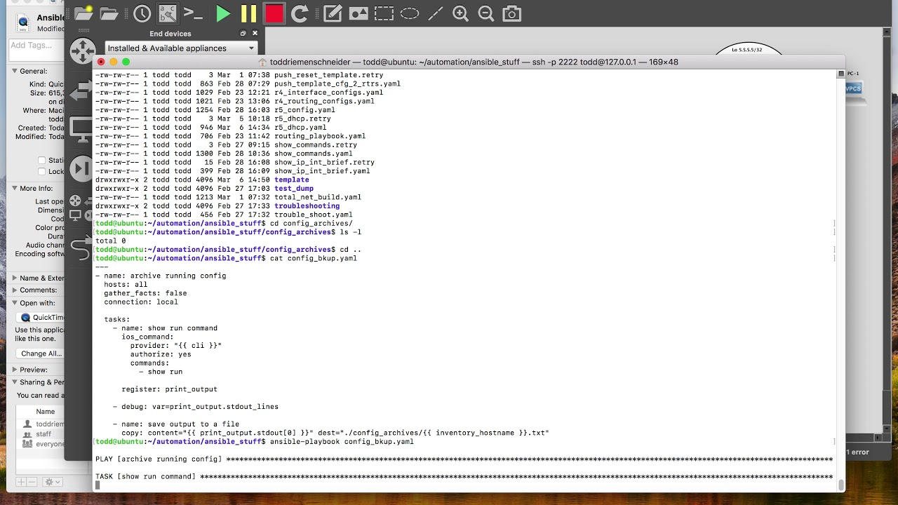 Cisco IOS config backup using Ansible playbook in GNS3 ((OUT OF DATE))