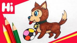 How to draw a Dog and Ball for kids
