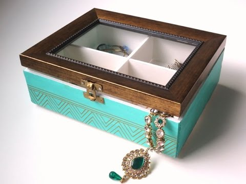 Diy Jewelry Box Organizer With Glass See Through Lid Youtube
