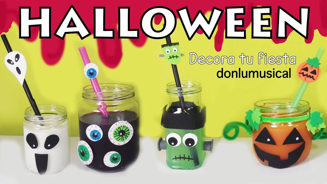 Bebidas Halloween decoración frascos para niños - YouTube