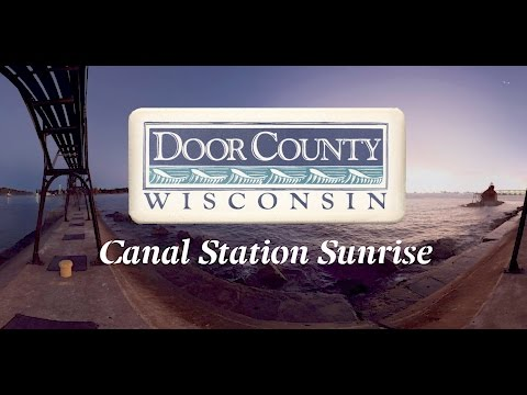 Door County Canal Station Sunrise - 360 Video