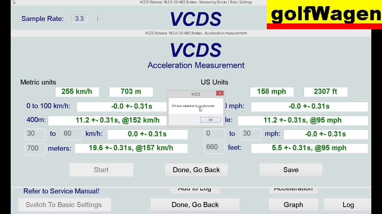 vcds vag acceleration measurement test on vw golf 5 1 9. Black Bedroom Furniture Sets. Home Design Ideas