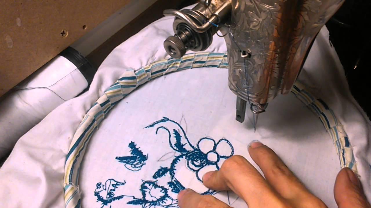 Cómo bordar con una máquina de coser antigua - YouTube
