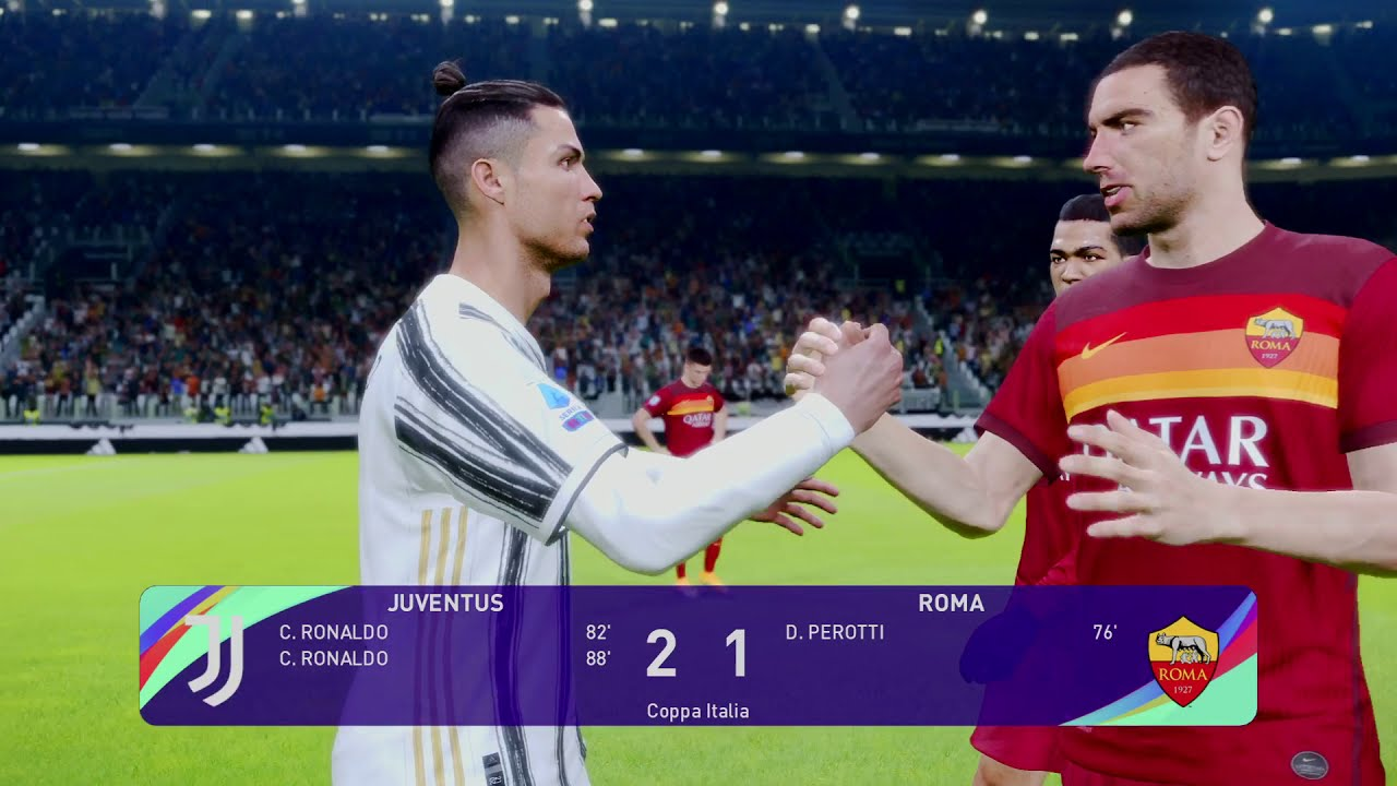 PES 2021 SEASON UPDATE Coppa Italia Juventus v Roma Quarter-finals - YouTube