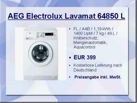 aeg electrolux lavamat 64850 l youtube. Black Bedroom Furniture Sets. Home Design Ideas