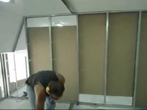 Como colocar gesso acartonado drywall avi youtube for Montar pared de pladur