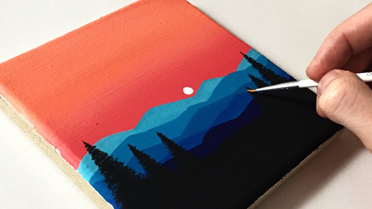 Northern Lights | Acrylic Painting Tutorial Step by Step ( ENG SUB )