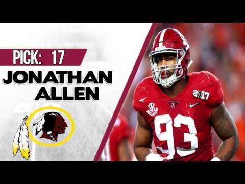 WASHINGTON REDSKINS SELECT JONATHAN ALLEN 17TH OVERALL   2017 NFL DRAFT
