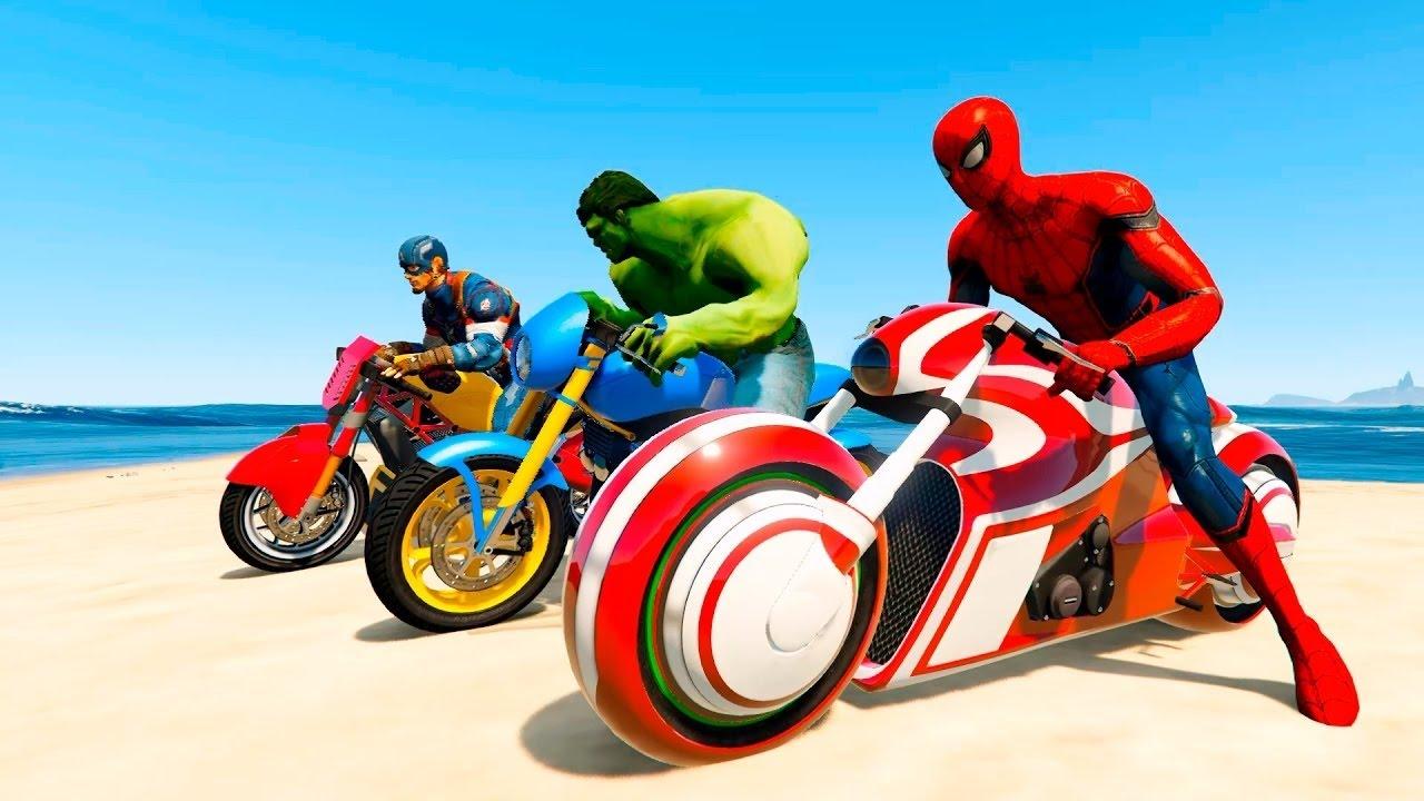 Hombre ara a con superh roes en la b squeda de bromista motos coches de dibujos youtube - Spider man moto ...