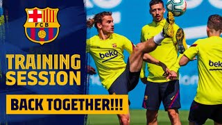 On monday the football first team started training in groups of up to 10 players as set out la liga protocols. session contained traditional '...