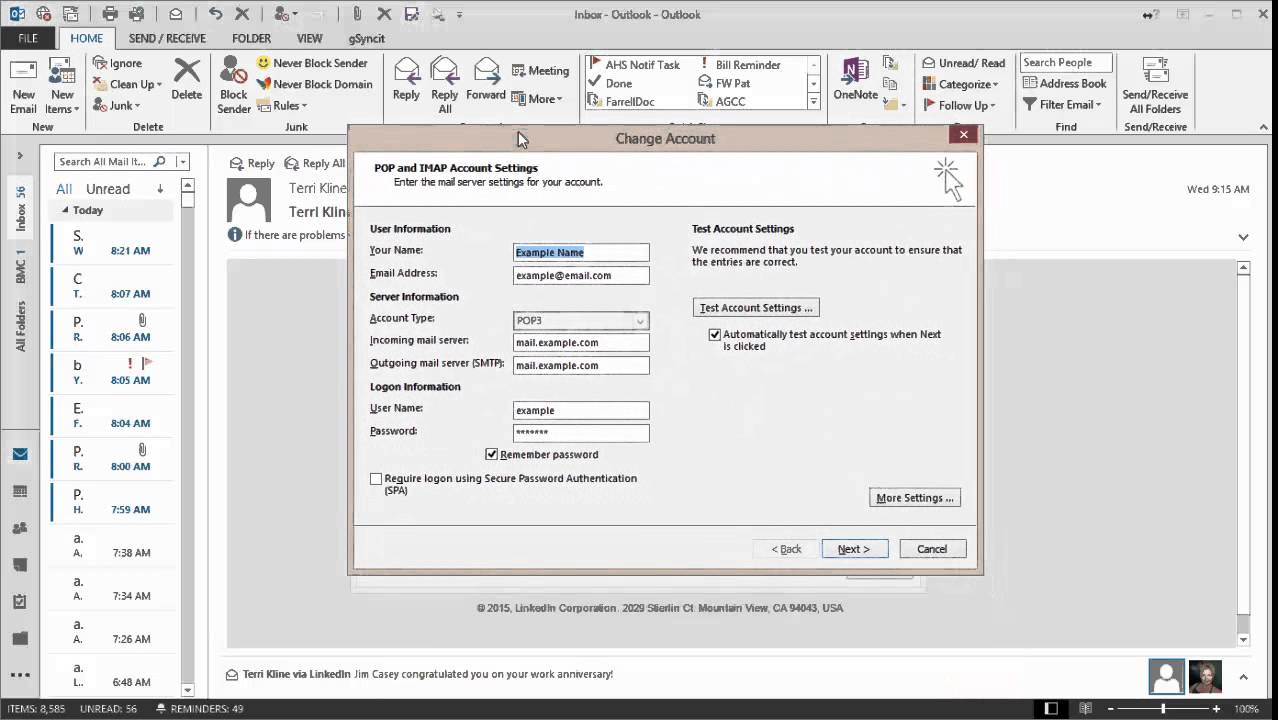 Tutorial set outlook to delete email from server - Office 365 server settings for outlook 2013 ...