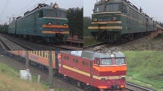 Три поезда ВЛ10У-748 ЧС2Т-1055 ВЛ11-042041Б