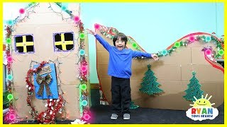 Giant Christmas Box Fort Challenge and Cardboard Sleigh with Ryan