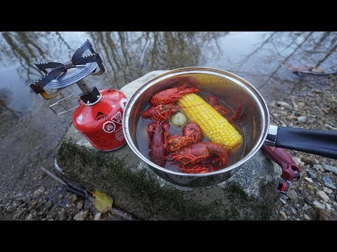 Catch And Cook - Crawfish Boil At The Creek!! (Solo)