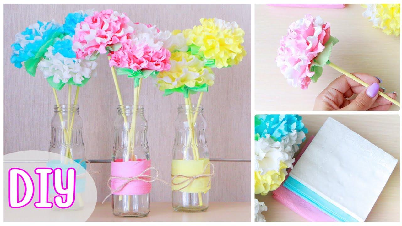 Как сделать ЦВЕТЫ ИЗ САЛФЕТОК / DIY: Paper Napkin Flowers / NataliDoma