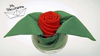 Servietten falten Rose - Tischdeko für Hochzeit, Valentinstag, Muttertag selber basteln