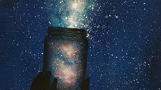 EASY! Galaxy Mason Jar Acrylic Painting LIVE Tutorial for Beginners