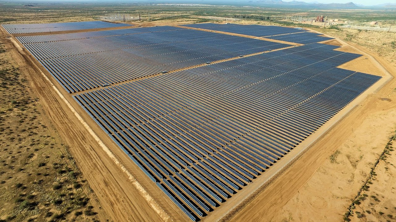 Drone Red Rock Solar Plant Construction Video Youtube